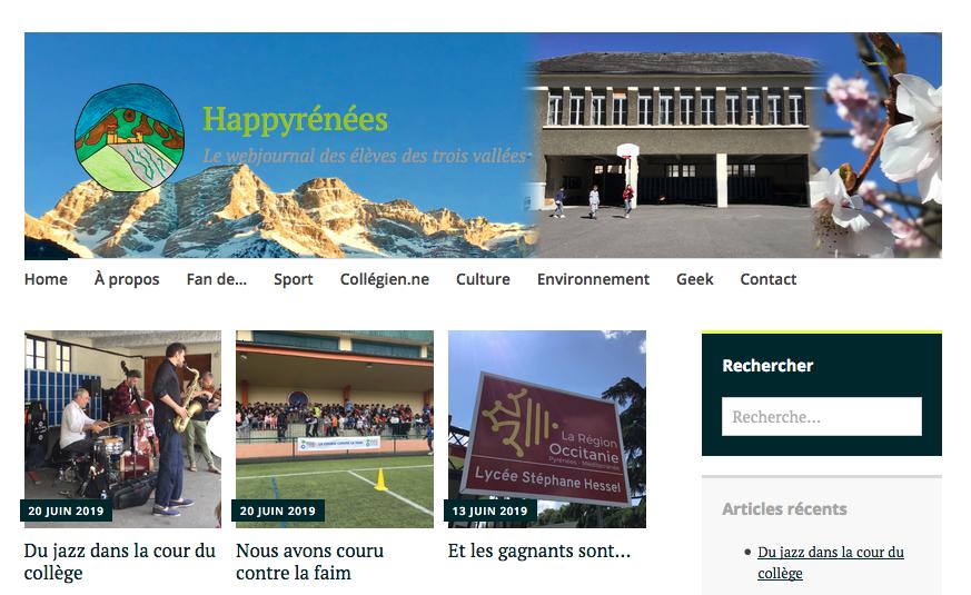 Page accueil du webjournal du collège des Trois Vallées